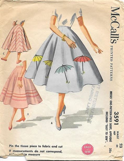 pattern of umbrella skirt mccalls 3591 1950s circle skirt with applique sewing