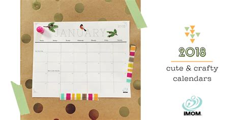 printable calendar 2018 cute and crafty cute and crafty 2018 calendar imom