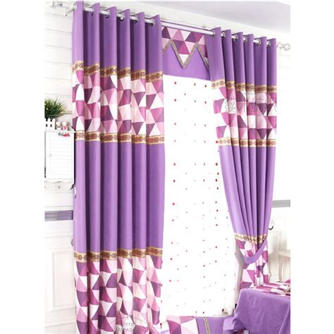 purple cotton curtains simple style purple cotton linen geometric curtains