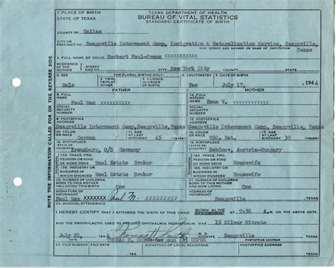 American Birth Records Birth Certificate From C Seagoville German American