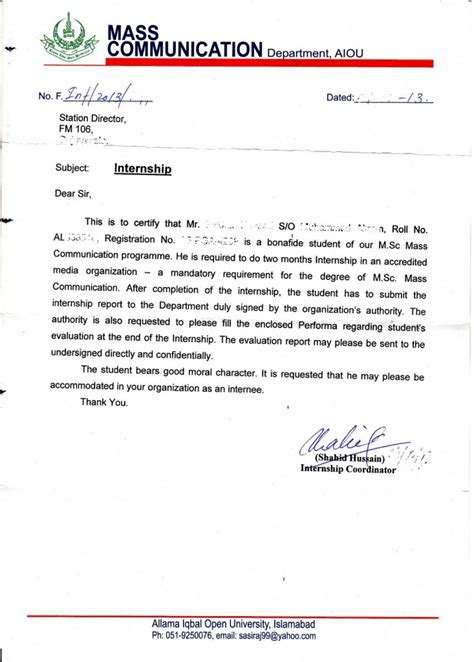 application letter for internship certificate what is the procedure of mass communication internship