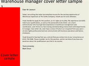 cover letter for warehouse supervisor warehouse manager cover letter