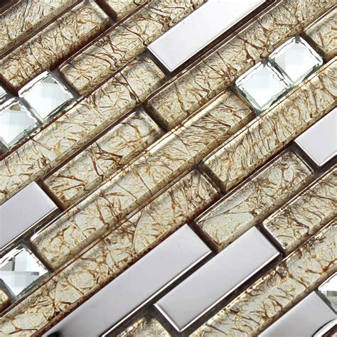 silver stainless steel wall tiles clear crystal diamond