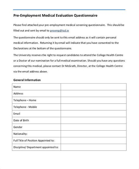 pre employment medical form template medical form templates