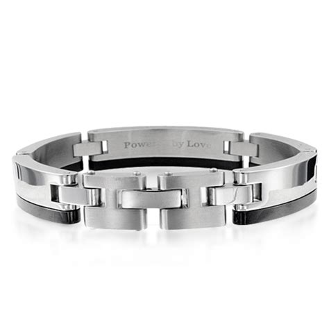 mens in stainless steel and 14k gold 0 05 cttw
