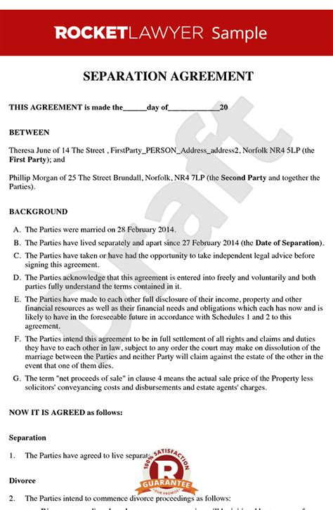separation agreement separation agreement template form