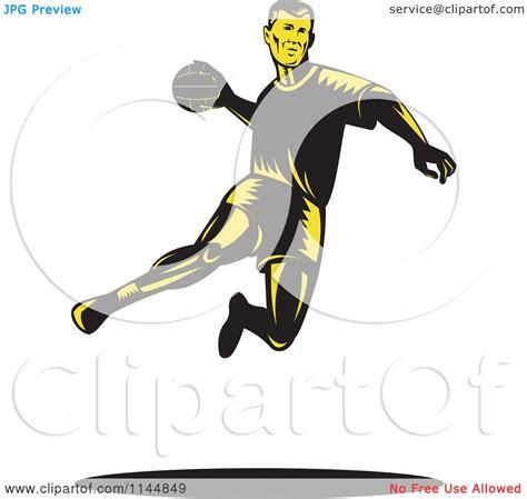 clipart of a retro woodcut clipart of a retro woodcut handball player jumping