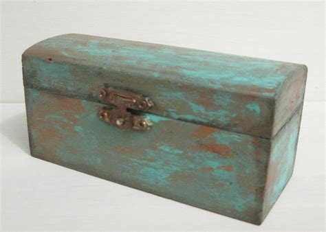 how to paint faux copper patina painted small wooden jewelry box with faux copper patina