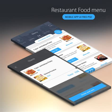 mobile themes psd free download restaurant food menu mobile app ui free psd download