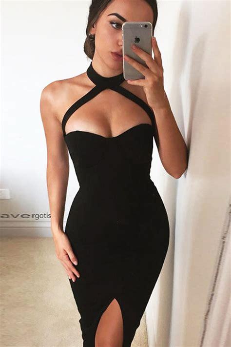 black halter front slit zipper  midi dress