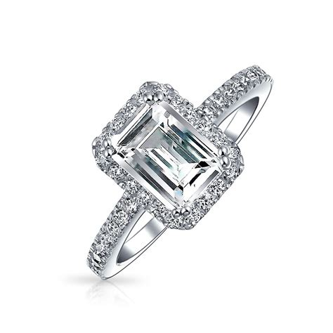 emerald cut pave cz 925 silver vintage style engagement