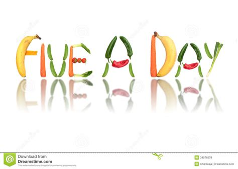 fruit 5 letter word five a day royalty free stock photos image 34576578