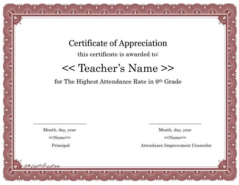 certificate of appreciation for teachers template best photos of attendance recognition template