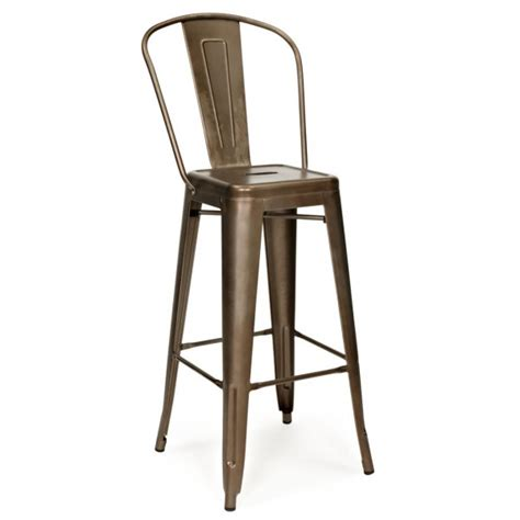 bar stool with back rest rustic 65cm tolix style metal bar stool with high back