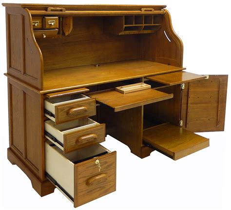 oak roll top computer desk in stock