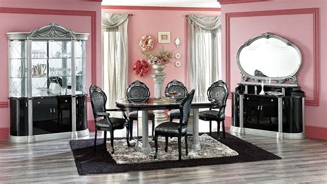 Black Gloss Dining Room Furniture Two Toned Silver Black High Gloss Finish Classic Dining Room
