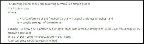 Sheet Metal Drawing Calculations