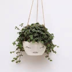 White Hanging Planter by White Ceramic Hanging Planter Face Plant Pot Character
