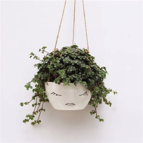 hanging pot white ceramic hanging planter face plant pot character