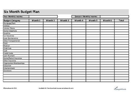 6 month business plan template 23 best images about personal financial budgeting on