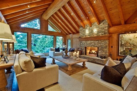cabin styles modern living room inspired by log cabin design decoist