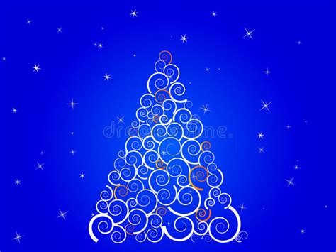 silueta de árbol de navidad 193 rbol de navidad blanco de la silueta en el cielo azul ilustraci 243 n vector ilustraci 243 n de