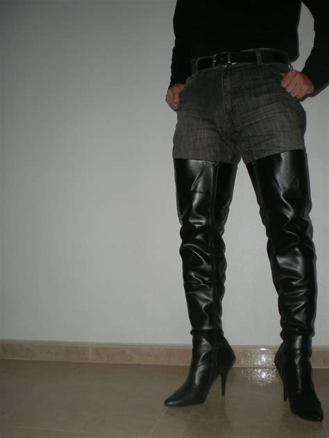 in high heels s thigh boots worn by a