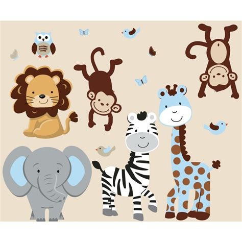 Wall Murals Wallpaper Cheap blue jungle safari stickers with zebra decals for boys rooms