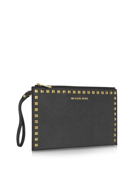 Michael Kors Studded Clutch lyst michael kors large selma studded saffiano clutch in