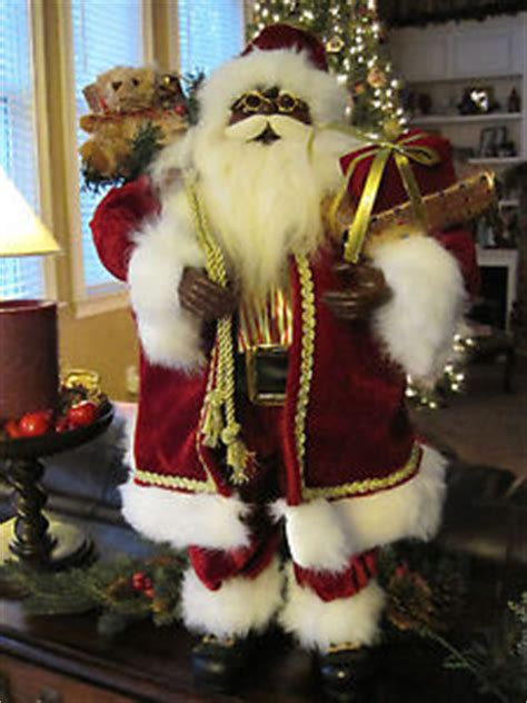 24 quot inch standing african american black santa claus