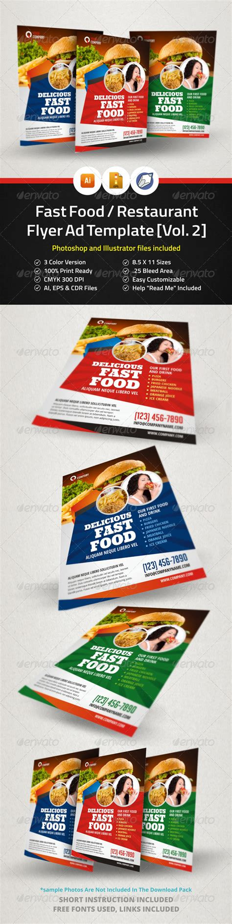 templates flyers corel fast food restaurant flyer ad template vol 2 graphicriver