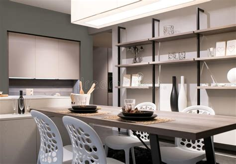 open plan kitchen  dining room stock photo image