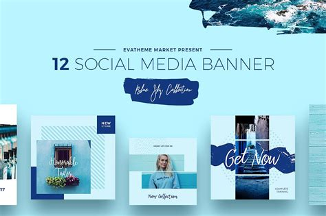 Blue Sky Social Media Designs Instagram Templates Creative Market Social Media Banner Templates Free