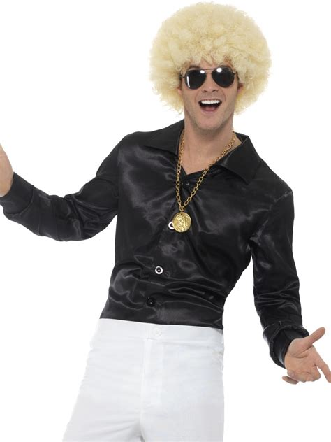 Hh 920592couple Costume Black black 60s shirt mens 70s fancy dress groovy disco retro costume accessory ebay