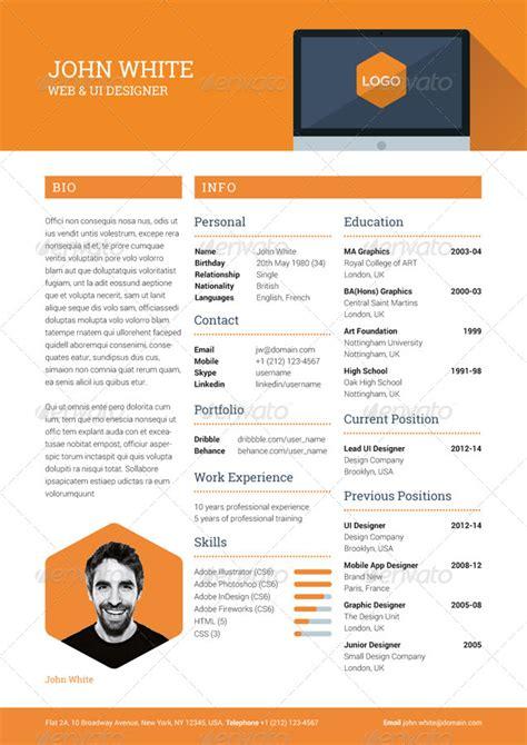 resume creative template creative resume graphicriver