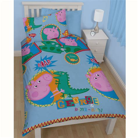 peppa pig bedding peppa pig george roar single duvet cover set new 2 in 1