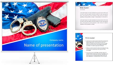 powerpoint templates law enforcement police badge gun and handcuffs on an american flag