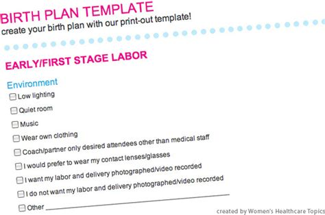 C Section Birth Plan by C Section Birth Plan Worksheet
