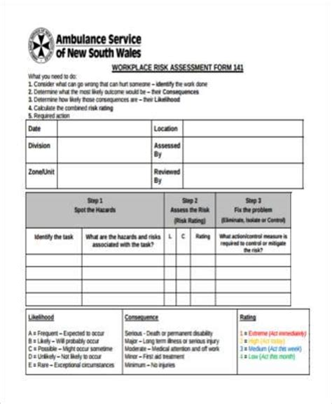 8 risk assessment form sles free sle exle