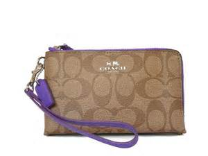 Coach Crossgrain Corner Zip Small Wristlet Purple Origi Berkualitas coach khaki purple iris wallet 23 coach
