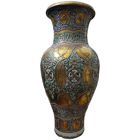 Moroccan Vases by Multicolor Moroccan Vase Pottery For Sale At 1stdibs