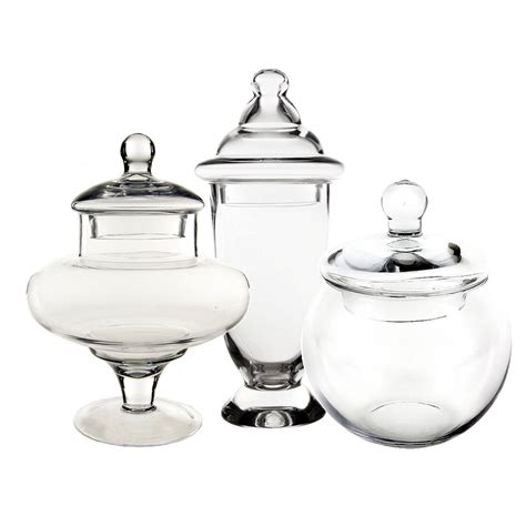 Apothecary Glass Candy Buffet Jar With Lid Set Of 3 Where To Buy Jars For Buffet