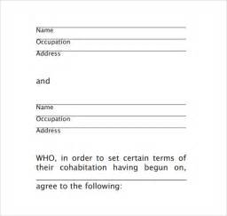 cohabitation contract template cohabitation agreement template 9 sles exles