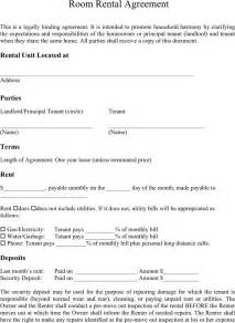 Room Rental Lease Agreement Template 5 room rental agreement form templates formats exles