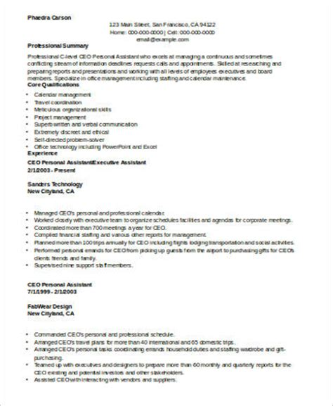 Personal Assistant Resume by Sle Personal Assistant Resume 8 Exles In Word Pdf