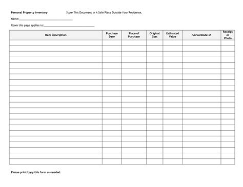 personal property inventory list template 10 best images of personal asset forms personal property