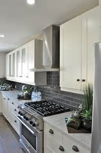 Gray Backsplash Kitchen Gray Subway Tile Backsplash For The Kitchen White