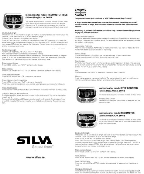 Silva Pedometer Step Counter Instruction Setup Geoff Jones