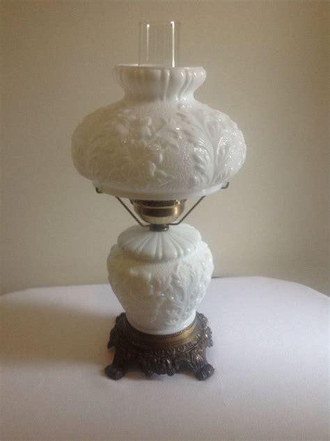 Vintage Milk Glass Flower Design Hurricane Table Lamp