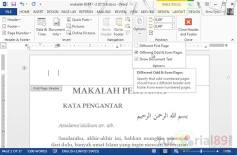 cara membuat no halaman otomatis pada word 2007 cara membuat no halaman ganjil genap beda posisi di word